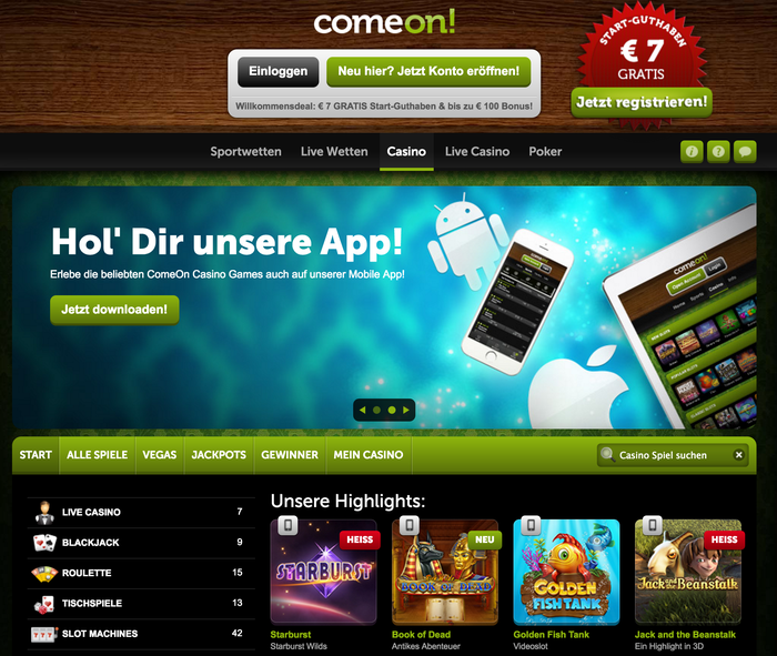 Comeon Casino website