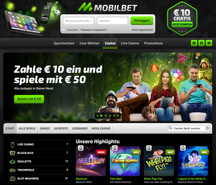 Mobilbet casino website